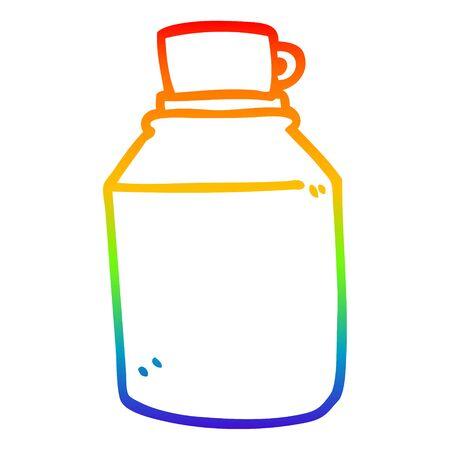 rainbow gradient line drawing of a cartoon hot drinks flask Illustration
