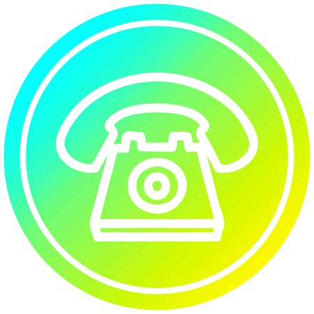 old telephone circular icon with cool gradient finish Banque d'images - 129917044