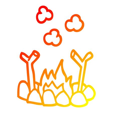 warm gradient line drawing of a cartoon camp fire