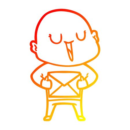 warm gradient line drawing of a happy cartoon bald man with package 일러스트