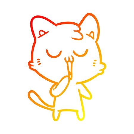 warm gradient line drawing of a cartoon cat yawning