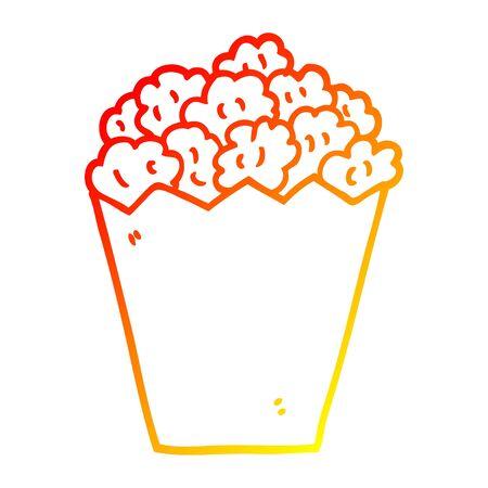 warm gradient line drawing of a cartoon cinema popcorn