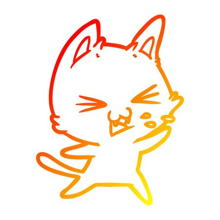 warm gradient line drawing of a cartoon cat hissing