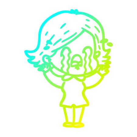 cold gradient line drawing of a cartoon woman crying Foto de archivo - 129917144