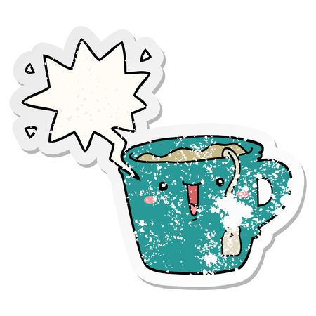 cute cartoon coffee cup with speech bubble distressed distressed old sticker