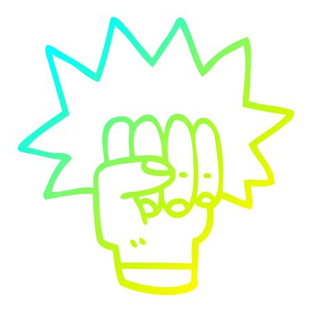 cold gradient line drawing of a cartoon punching fist