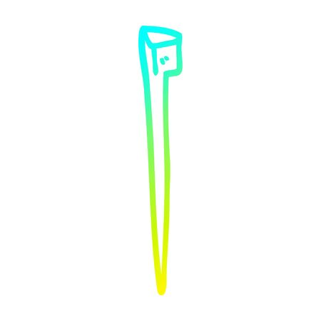 cold gradient line drawing of a cartoon old nail