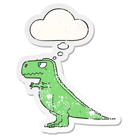 cartoon dinosaur with thought bubble as a distressed worn sticker