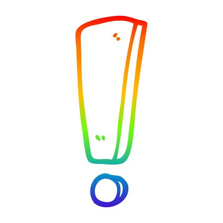 rainbow gradient line drawing of a cartoon exclamation mark 矢量图像