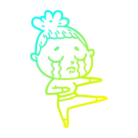 cold gradient line drawing of a cartoon crying woman dancing