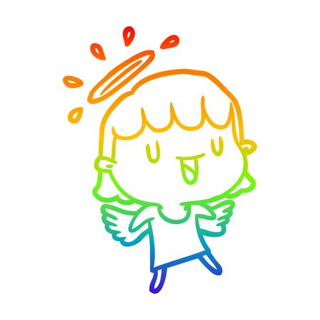 rainbow gradient line drawing of a cute angel