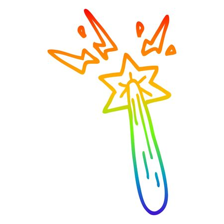 rainbow gradient line drawing of a cartoon magic wand