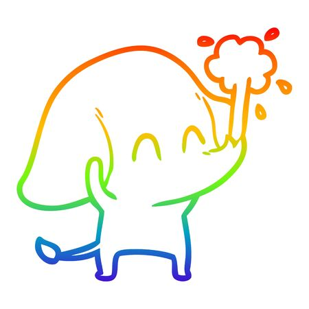 rainbow gradient line drawing of a cute cartoon elephant spouting water Ilustracja