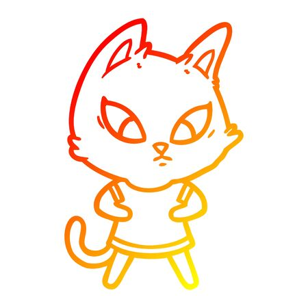 warm gradient line drawing of a confused cartoon cat in clothes
