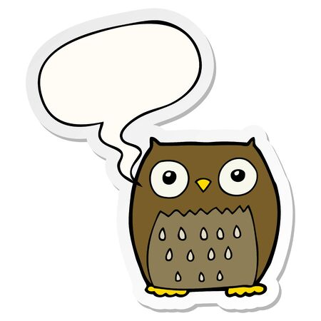 cartoon owl with speech bubble sticker Illusztráció