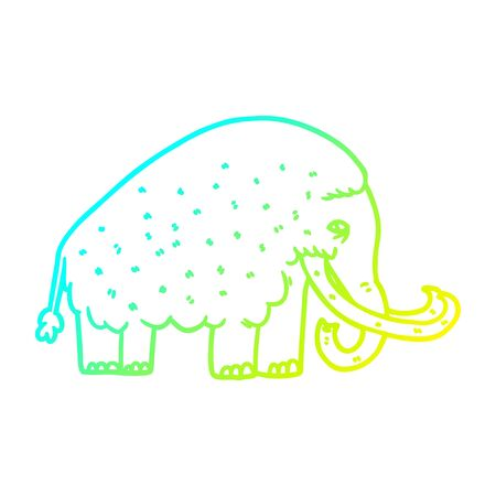 cold gradient line drawing of a cartoon mammoth