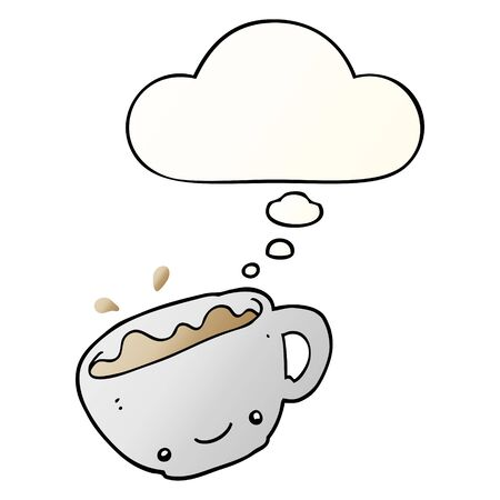 cartoon cup of coffee with thought bubble in smooth gradient style Ilustração