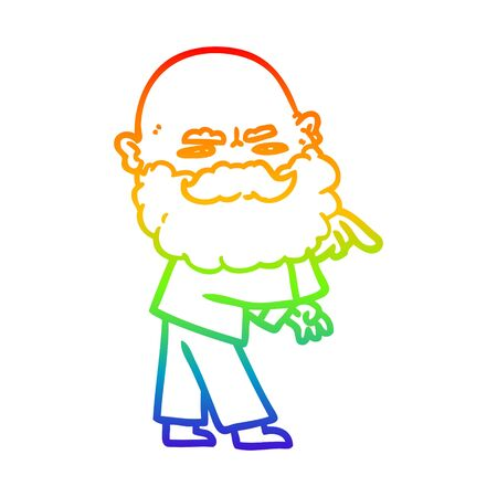rainbow gradient line drawing of a cartoon man with beard frowning and pointing
