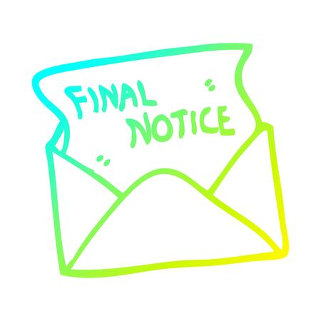 Dibujo de la línea de gradiente en frío de una carta de aviso final de dibujos animados