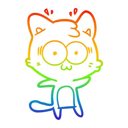 rainbow gradient line drawing of a cartoon surprised cat Иллюстрация