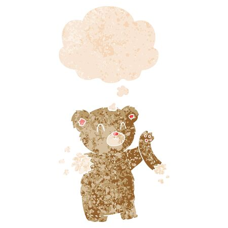 cartoon teddy bear with torn arm with thought bubble in grunge distressed retro textured style  イラスト・ベクター素材
