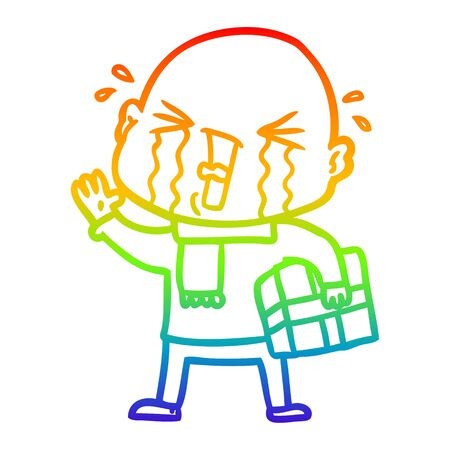 rainbow gradient line drawing of a cartoon crying bald man 일러스트