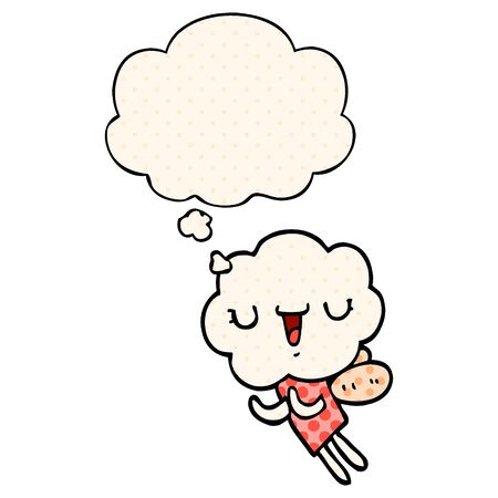 cute cartoon cloud head creature with thought bubble in comic book style