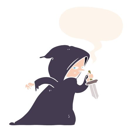 cartoon assassin in dark robe with speech bubble in retro style Ilustrace