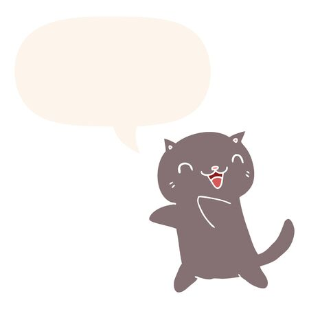 cartoon cat with speech bubble in retro style Иллюстрация