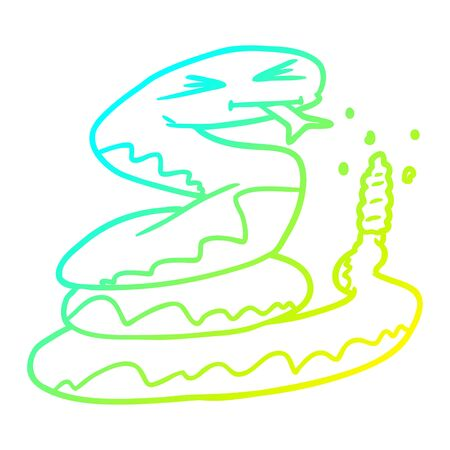cold gradient line drawing of a cartoon rattlesnake