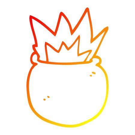 warm gradient line drawing of a cartoon exploding cauldron