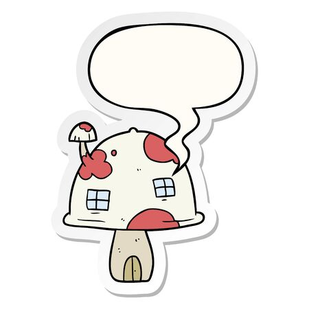 cartoon fairy mushroom house with speech bubble sticker Stockfoto - 129917128