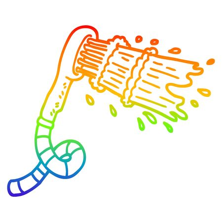 rainbow gradient line drawing of a cartoon shower head