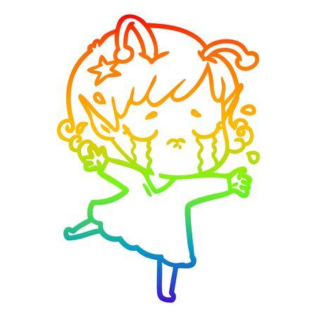 rainbow gradient line drawing of a cartoon crying alien girl Foto de archivo - 129917139