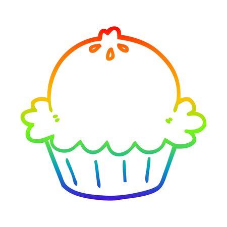 rainbow gradient line drawing of a cute cartoon pie Иллюстрация