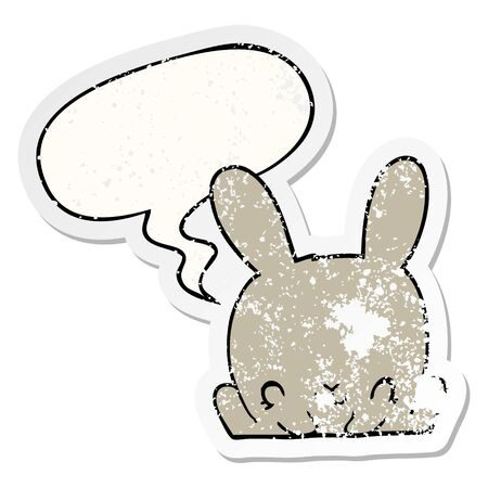cartoon rabbit with speech bubble distressed distressed old sticker Stockfoto - 129917336