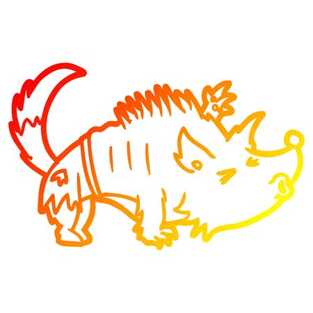 warm gradient line drawing of a halloween werewolf