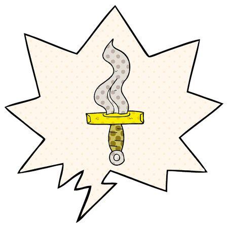 cartoon dagger with speech bubble in comic book style