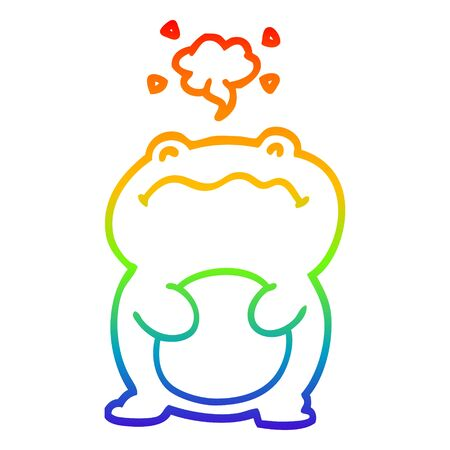 rainbow gradient line drawing of a funny cartoon frog Illustration