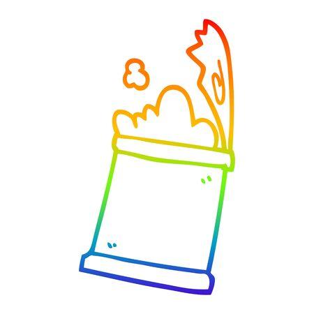 rainbow gradient line drawing of a cartoon open can of food Ilustração