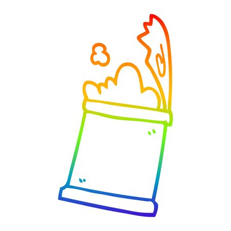 rainbow gradient line drawing of a cartoon open can of food Illustration