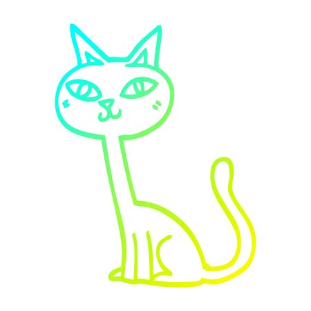 cold gradient line drawing of a cartoon cat