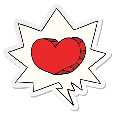 cartoon love heart with speech bubble sticker Stockfoto - 129917242