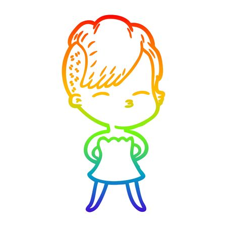 rainbow gradient line drawing of a cartoon squinting girl in dress