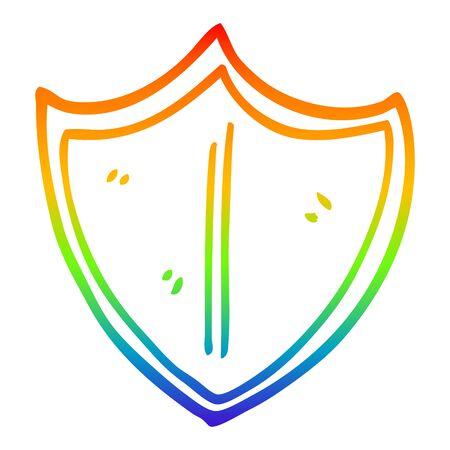 rainbow gradient line drawing of a cartoon old shield Stock Illustratie