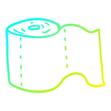 cold gradient line drawing of a cartoon toilet roll Stock Illustratie