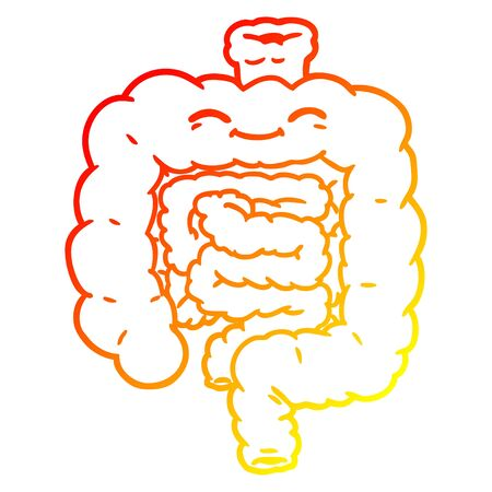 warm gradient line drawing of a cartoon intestines