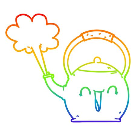rainbow gradient line drawing of a cartoon boiling kettle