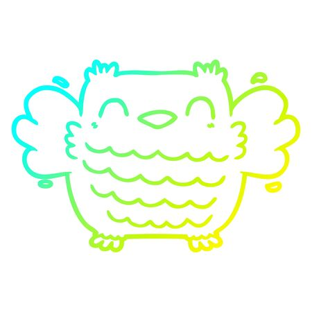 cold gradient line drawing of a cartoon owl Illusztráció