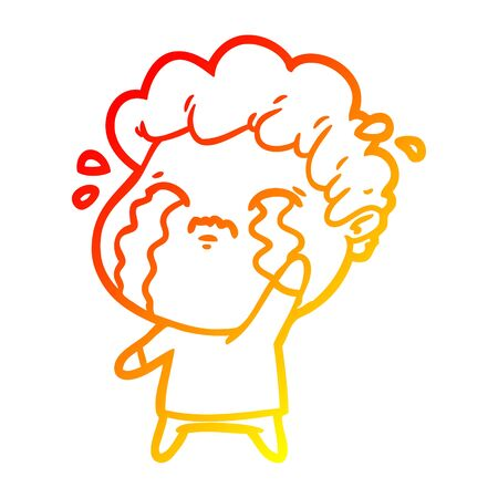 warm gradient line drawing of a cartoon man crying  イラスト・ベクター素材